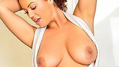 Kandi Kay in her open front top.