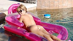 Diddylicious does a little naked pool lounging.