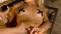 Lolly Hardcore sexy with her nipple stickers