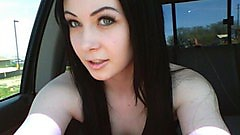 Sabrina Sins in the car doing some horny selfies.